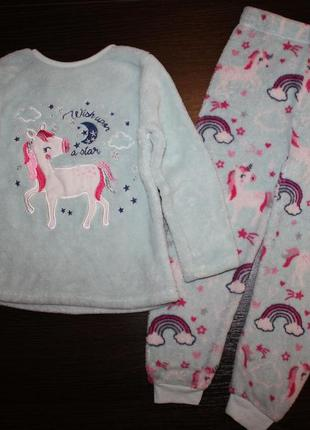 Махровая пижама primark на 4-5 лет для девочки