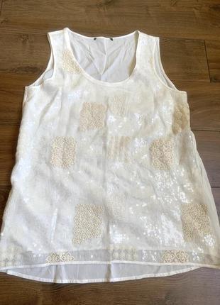 Marc aurel,германия,классная белая блузка,майка с пайетками и вышивкой,40р