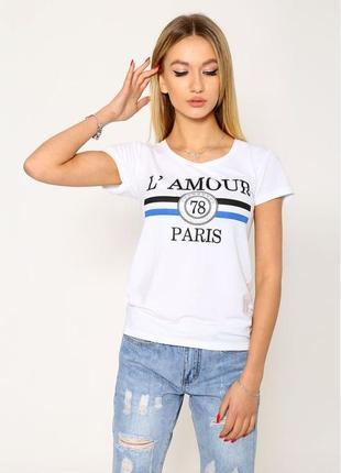 Белая легкая летняя женская футболка с надписью