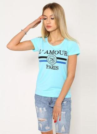 Стильная хлопковая женская футболка голубого цвета с рисунком