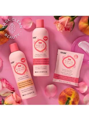Hask rose oil & peach маска - кондиционер для окрашены волос защита цвета на 5-6 раз. сша