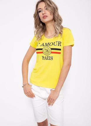 Желтая летняя женская футболка с принтом