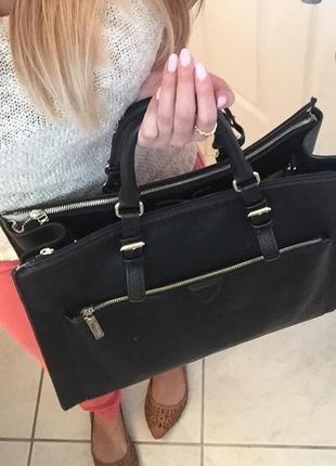 Большая синяя сумка портфель zara basic city bag офисная