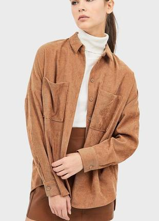 Новая вельветовая рубашка camel zara stradivarius