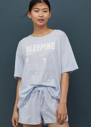 Пижама трикотаж футболка + шорты, оверсайз, коллекция 2020 от h&m.