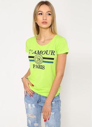 Стильная женская летняя футболка салатового цвета с круглым вырезом