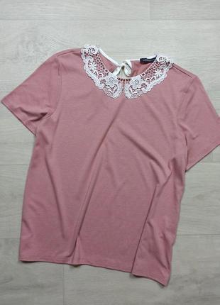 Пудровая блуза с воротничком