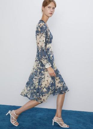 Новое голубое платье миди zara