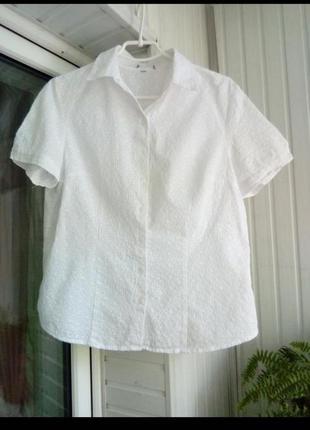 Натуральная красивая блуза рубашка из прошвы,пог56,длина64