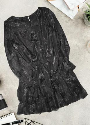 Платье с металлическим переливом и длинным рукавом lipsy