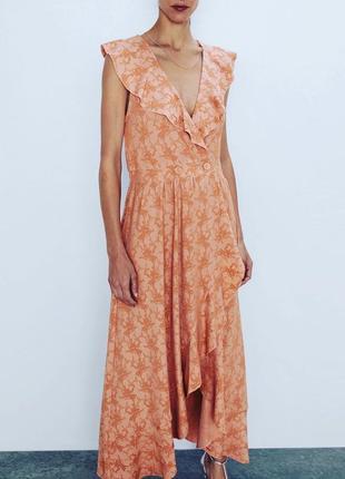 Новое платье сарафан на запах с воланами zara