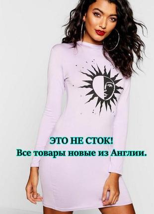 Boohoo. товар из англии.лиловое платье в стиле футляр с принтом.