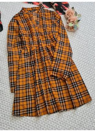 Платье-рубашка в клетку shein/короткое платье клетка