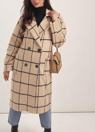 Кашемировое oversize-пальто в клетку