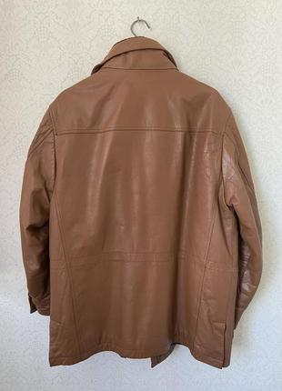 Pedro del hierro утепленная кожаная мужская куртка с карманами9 фото