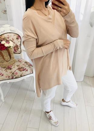 Тонкий летний свитер свободного кроя oversize оверсайз со спущенным рукавом h&m