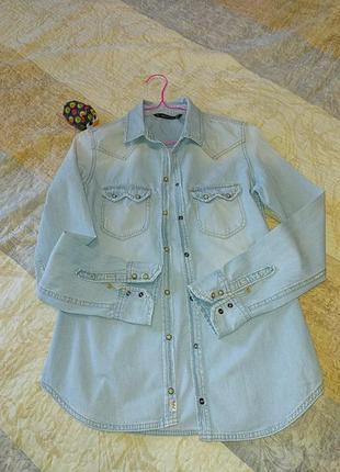 Zara морокко брендовая джинсовая рубашка размер s, можно м