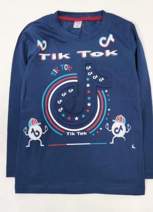Детская кофта реглан для мальчика  синяя тик ток 6-12  лет 4700-1