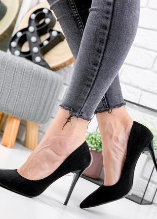 Туфли женские roza черные эко-замша на шпильке высокий каблук