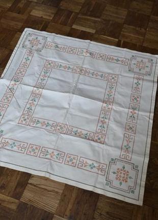 Скатерть из льна ручная вышивка