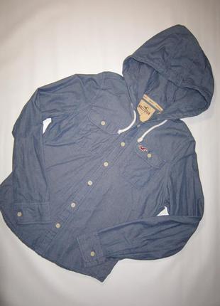 Отличная хлопковая серо-синяя рубашка с капюшоном