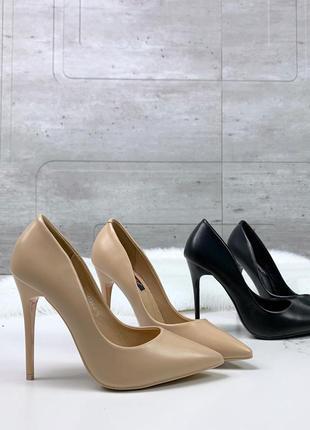 Шикарные туфли лодочки на шпильке в черном и бежевом цвете