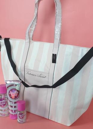 Большая сумка victoria's secret stripe weekender tote 🔥акция!🔥 получи скидку 7%
