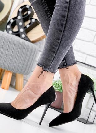 Новые женские чёрные  туфли лодочки на шпильке