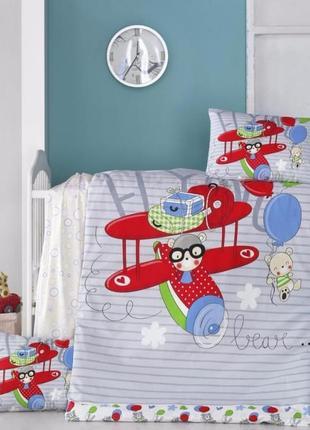 Комплект постельного белья для новорожденного ранфорс tм victoria (турция)