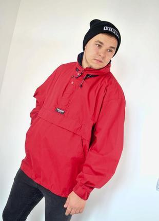 Ralph lauren chaps красный анорак, демисезонная винтажная куртка через голову