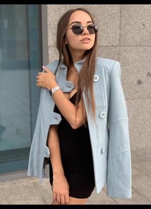 Голубое пальто пиджак приталенное из шерсти с кашемиром