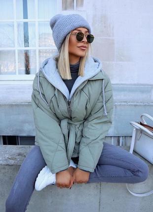 Куртка zara, стеганная с капюшоном