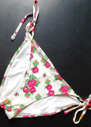 Купальник низ.. плавки купальные белые в розовый цветочек на завязках