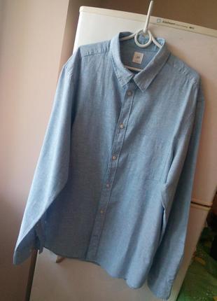 Красивая мужская рубашка от «н&м», лен+хлопок