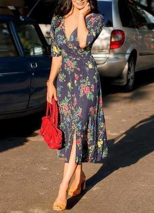 Распродажа цветочное платье миди warehouse с разрезом с asos
