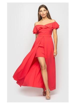Платье длинное со шлейфом в пол и воланами на плечах