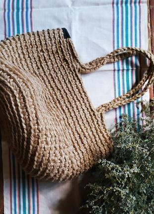 Сумка шопер вязанная джутовая.2 фото
