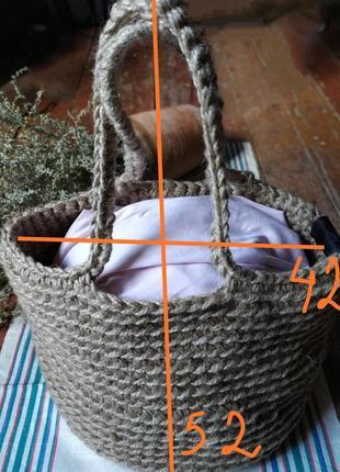Сумка шопер вязанная джутовая.4 фото