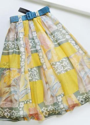 Юбка свободная миди с цветочным принтом с поясом летняя