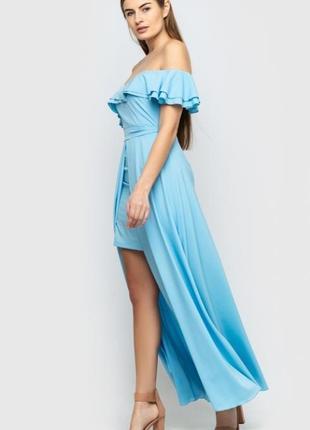 Платье длинное в пол со шлейфом и воланами на плечи