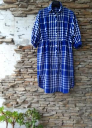 Котоново-льняное с красивыми рукавами платье рубашка большого размера