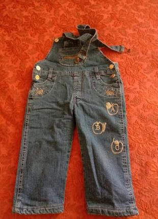 Теплый джинсовый комбинезон на флисе