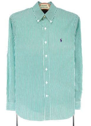 Рубашка polo ralph lauren зелёная в белую полоску
