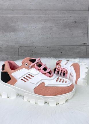 Кроссовки =komlero= белые с розовым