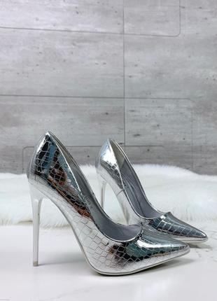 Туфли =style= серебро под питон