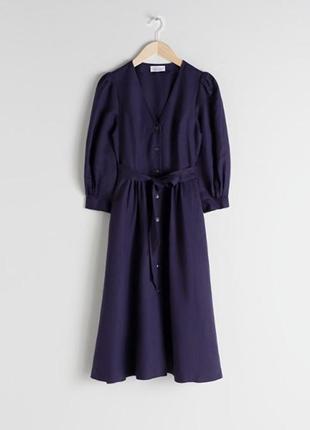Платье миди с поясом, лён. &other stories