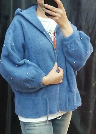 Кардиган,куртка с жемчугом, размер универсальный 48-52.