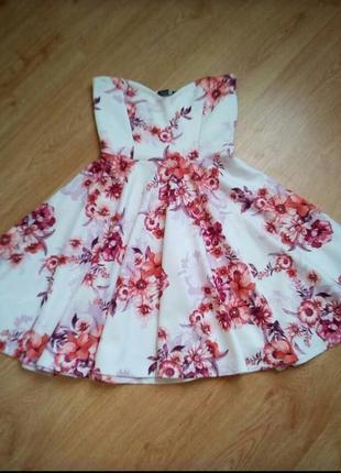Платье бюстье в цветочный принт.