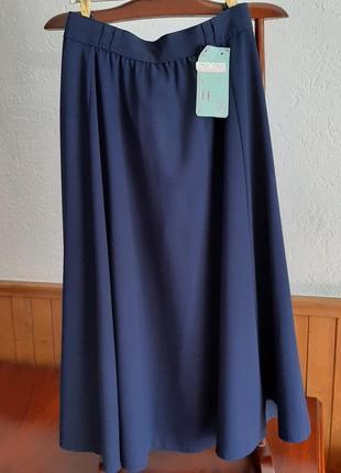 Темно-синяя юбка однотонная клеш с&a 34-36-38 р s/44