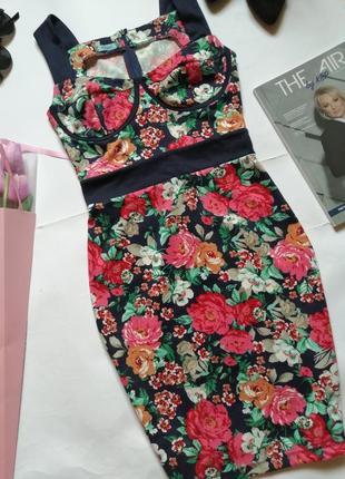 Платье в цветочный принт р м